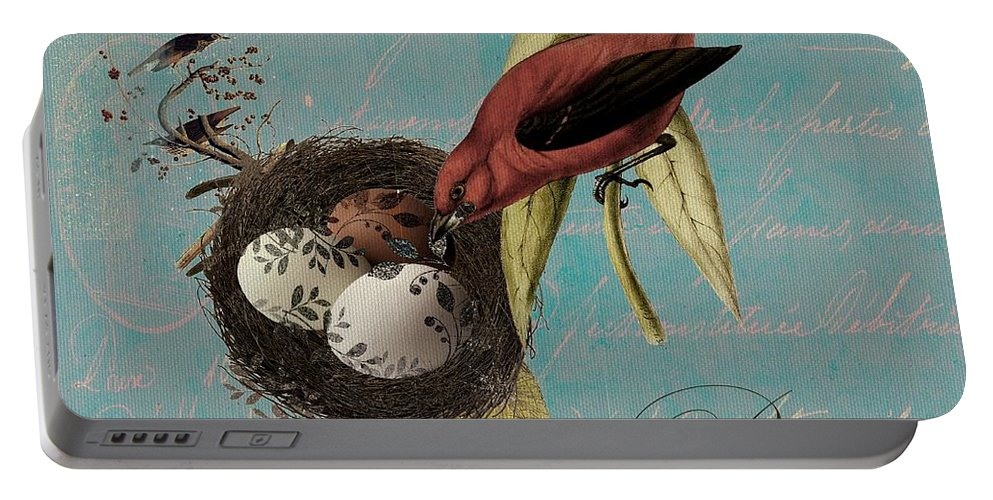 Bird Portable Battery Charger featuring the digital art Bird Nest - 02v02t01 by Variance Collections