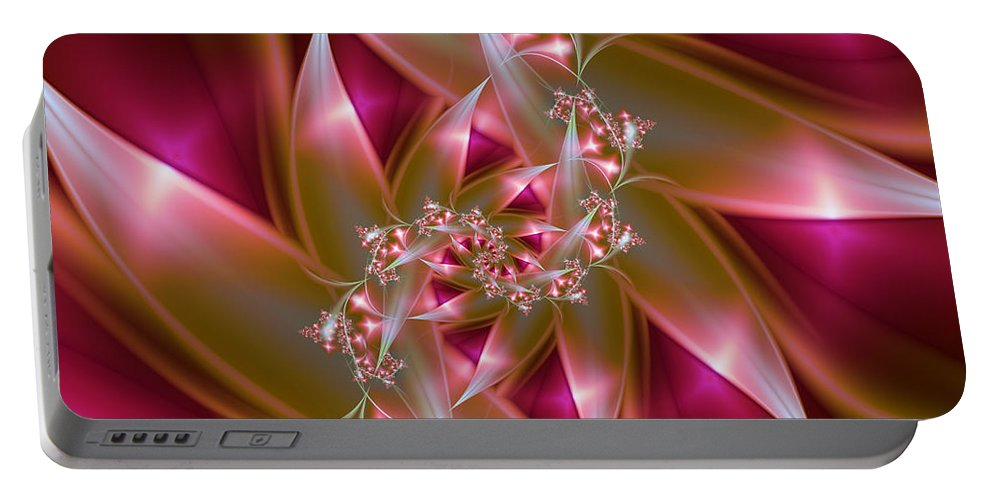 Fractal Portable Battery Charger featuring the digital art Bird Of Paradise by Lena Auxier