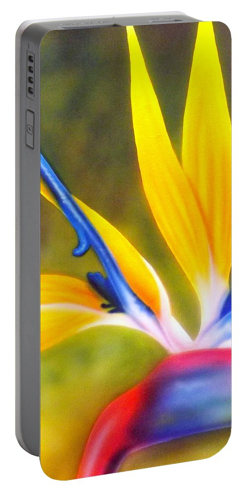 Bird Of Paradise Portable Battery Charger featuring the painting Bird Of Paradise Revisited by Darren Robinson