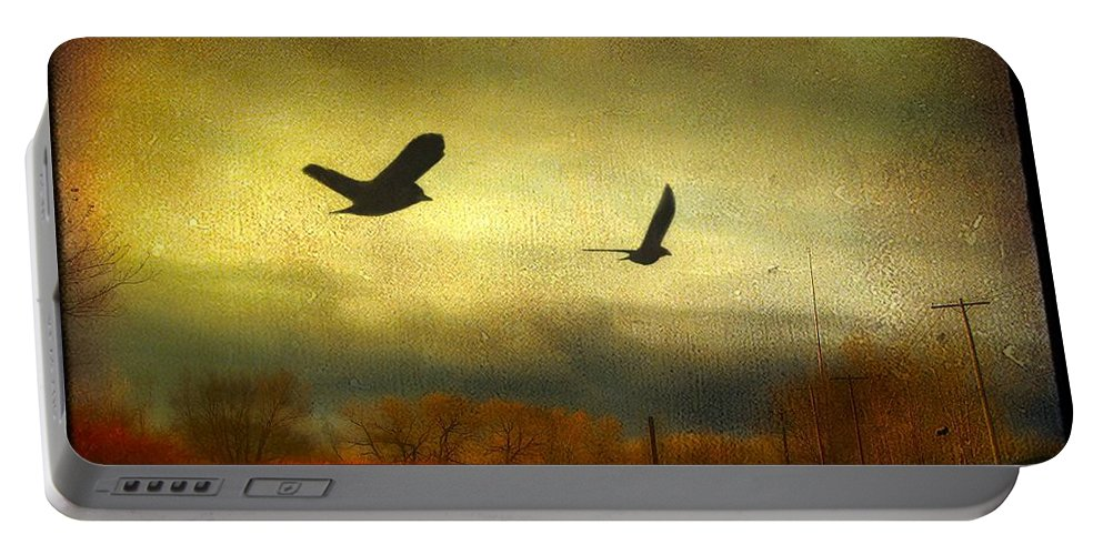 Fall Colors Portable Battery Charger featuring the digital art Country Bird Rail by Gothicrow Images