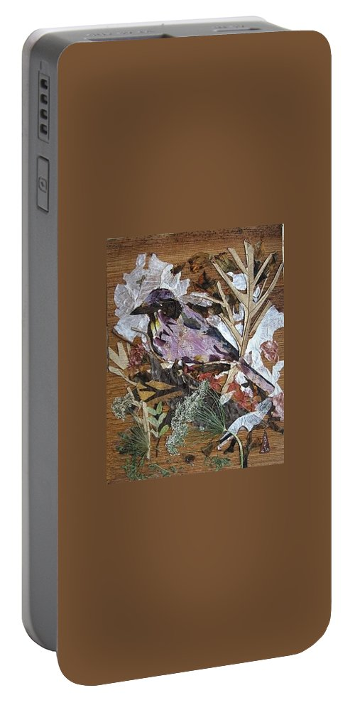 Bird Scrub Joy Portable Battery Charger featuring the mixed media Bird Scubjoy by Basant Soni