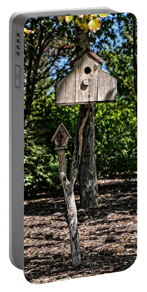 Birdhouse Portable Battery Charger featuring the photograph Birdhouses In The Trees by Image Takers Photography LLC