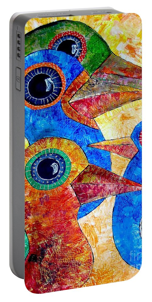 Birds Portable Battery Charger featuring the painting Birds 736 - Marucii by Marek Lutek