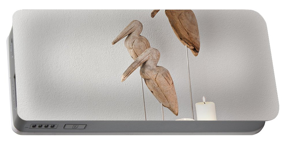 Apartment Portable Battery Charger featuring the photograph Birds And Candles by U Schade
