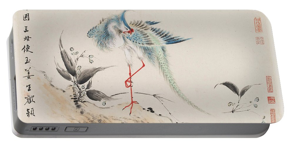Hua Yan Portable Battery Charger featuring the painting Birds And Flowers by Hua Yan