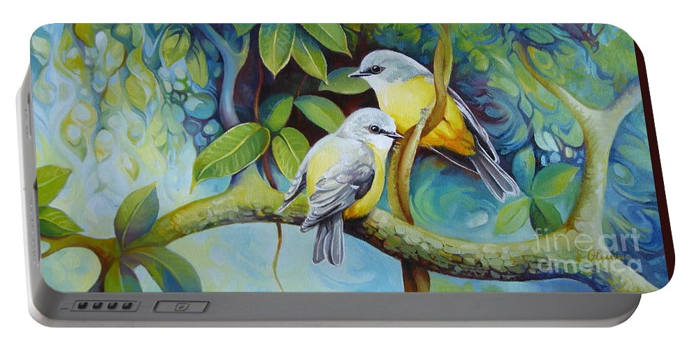 Birds Portable Battery Charger featuring the painting Birds by Elena Oleniuc