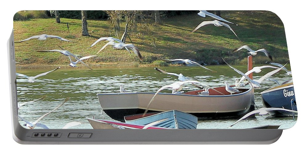 Lake Portable Battery Charger featuring the photograph Birds In Flight At The Lake by Christy Gendalia