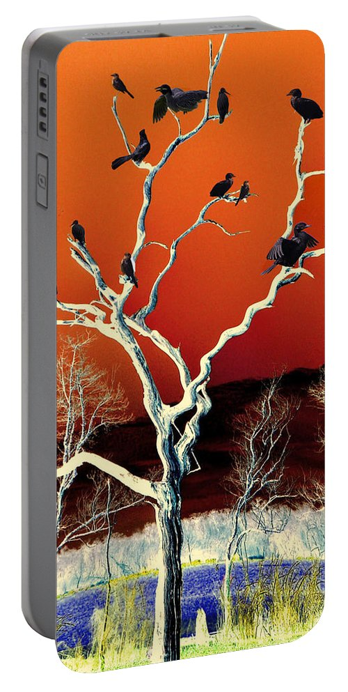 Colors Portable Battery Charger featuring the mixed media Birds On Tree by Savannah Gibbs