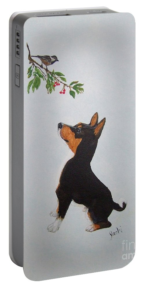 Basenji Portable Battery Charger featuring the painting Birdwatching by Jacki McGovern