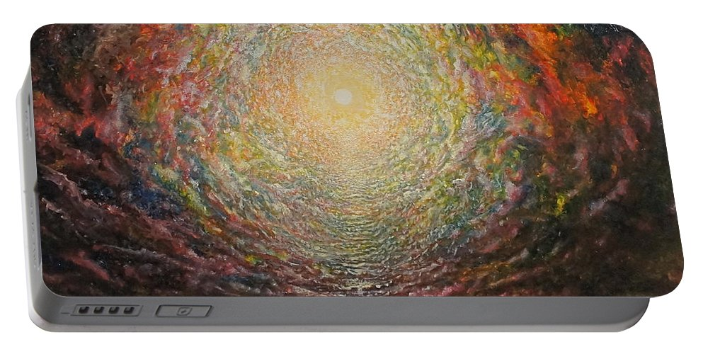 Sun Portable Battery Charger featuring the painting Birth Canal by Karma Moffett