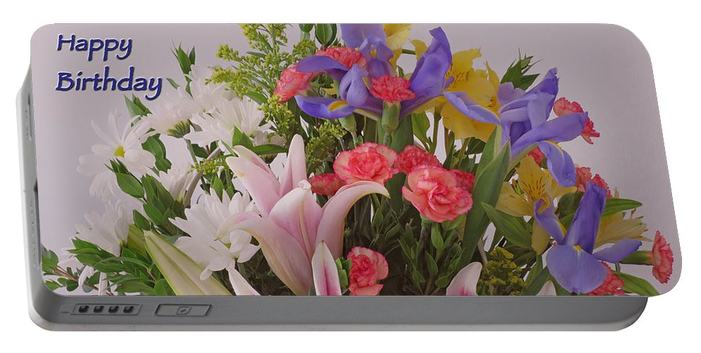 Birthday Portable Battery Charger featuring the photograph Birthday Bouquet Card by Ann Horn