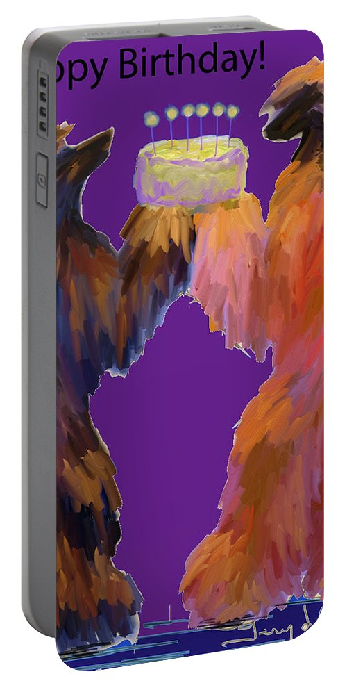 Ipad Finger Painting Portable Battery Charger featuring the painting Birthday Cake by Terry Chacon
