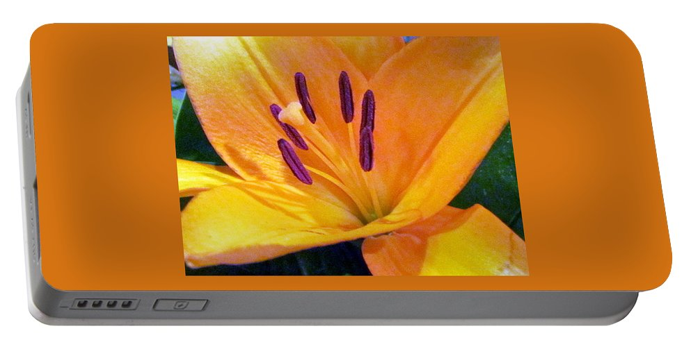 Flower Portable Battery Charger featuring the photograph Birthday Lily. by Joyce Woodhouse