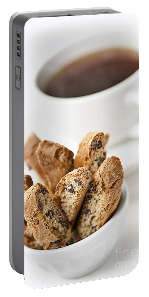 Biscotti Portable Battery Charger featuring the photograph Biscotti And Coffee by Elena Elisseeva