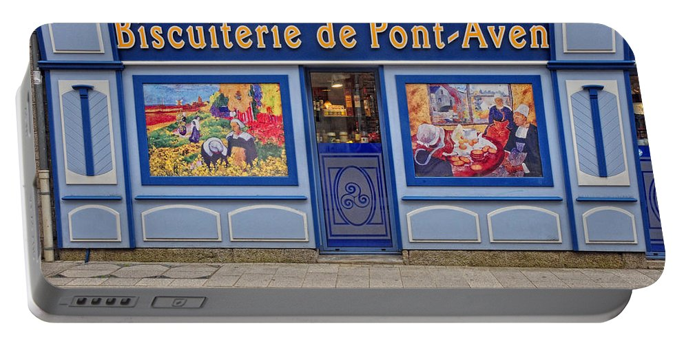 France Portable Battery Charger featuring the photograph Biscuiterie In Pont Avon by Dave Mills