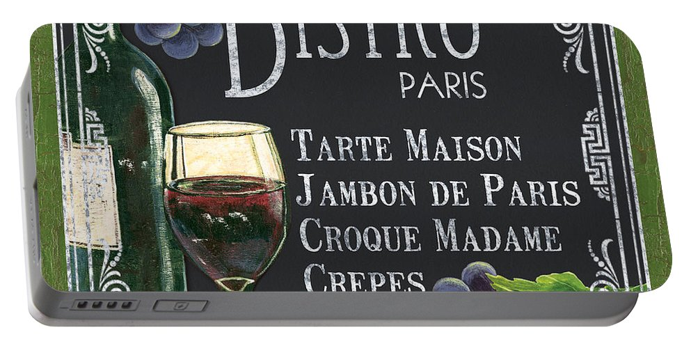 Bistro Portable Battery Charger featuring the painting Bistro Paris by Debbie DeWitt