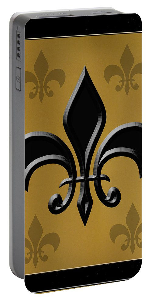 Fleur De Lis Portable Battery Charger featuring the photograph Black And Gold by Karen Beasley