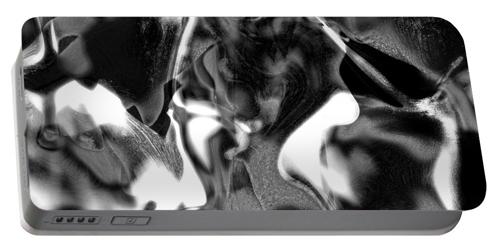 Abstract Portable Battery Charger featuring the digital art Black And Indeed White by Richard Thomas