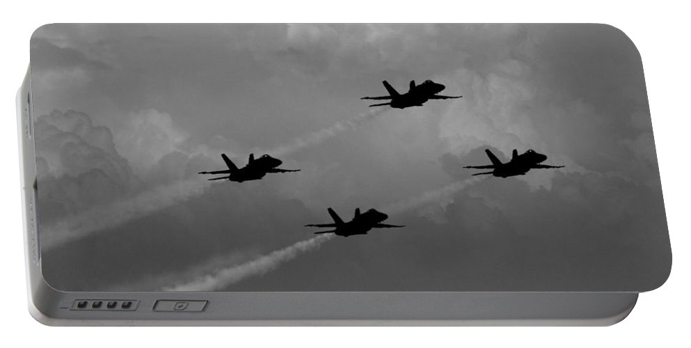 Aviation Art Portable Battery Charger featuring the photograph Black And White And Blue Angels 2 by Strato ThreeSIXTYFive