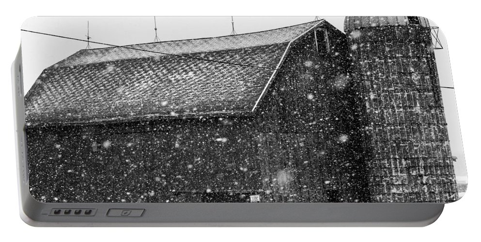 Snow Portable Battery Charger featuring the photograph Black And White Barn by Tim Buisman
