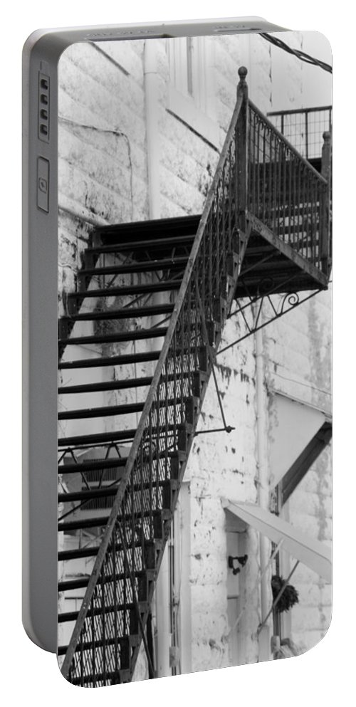 Vertical Portable Battery Charger featuring the photograph Black And White Fire Escape Usa Near Infrared by Sally Rockefeller