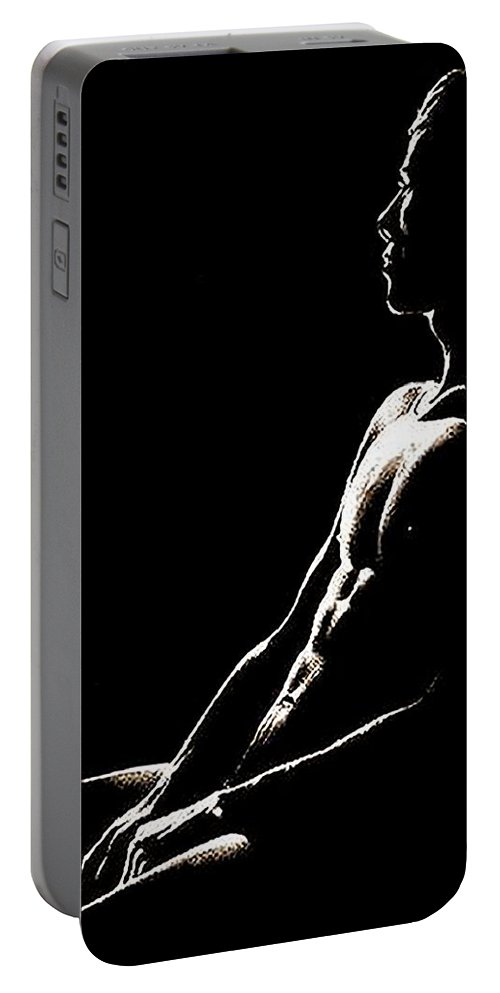 Black Portable Battery Charger featuring the painting Black And White Profile by Troy Caperton