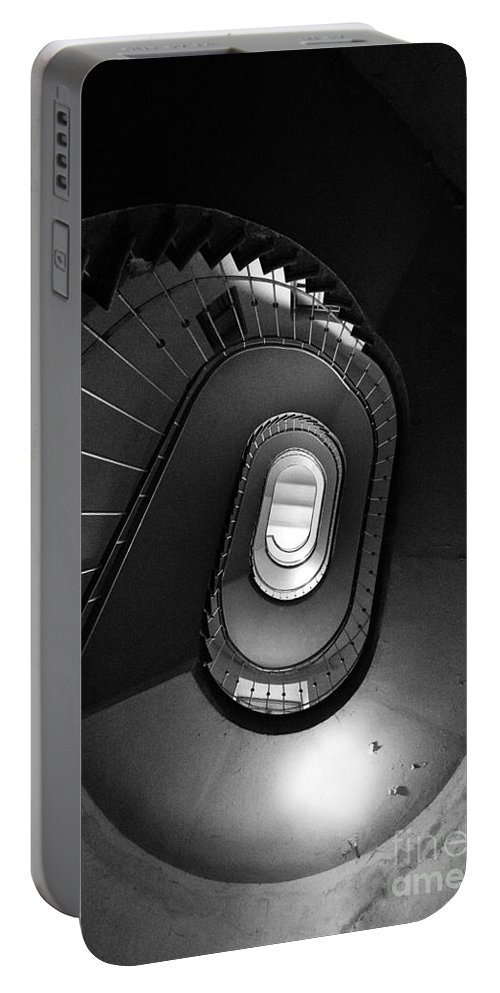 Interior View Portable Battery Charger featuring the photograph Black And White Spiral Staircaise by Jaroslaw Blaminsky