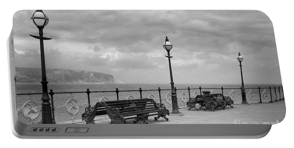 Coast Portable Battery Charger featuring the photograph Black And White Swanage Pier by Linsey Williams