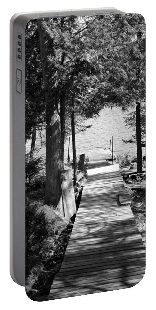 Walkway Portable Battery Charger featuring the photograph Black And White Walkway by Thomas Phillips
