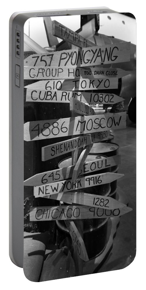 Black And White World Directions Portable Battery Charger featuring the photograph Black And White World Directions by Dan Sproul