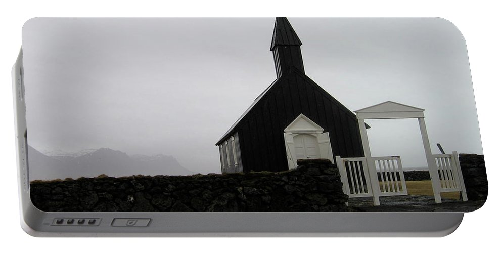 Church Portable Battery Charger featuring the photograph Black Church by Kimberly Maxwell Grantier