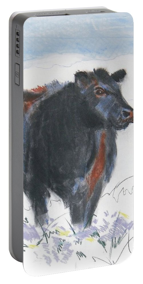 Mike Jory Cow Portable Battery Charger featuring the painting Black Cow Drawing by Mike Jory