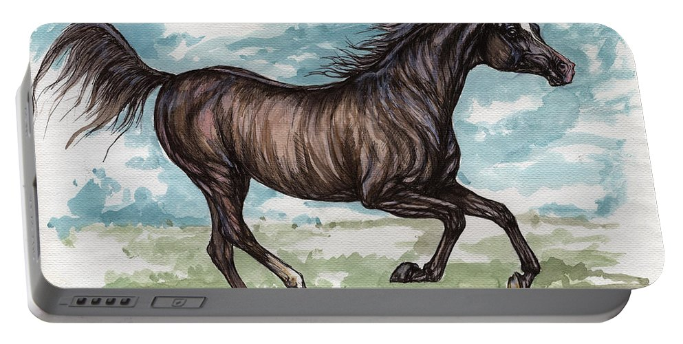 Psychodelic Portable Battery Charger featuring the painting Black Horse Running by Angel Ciesniarska