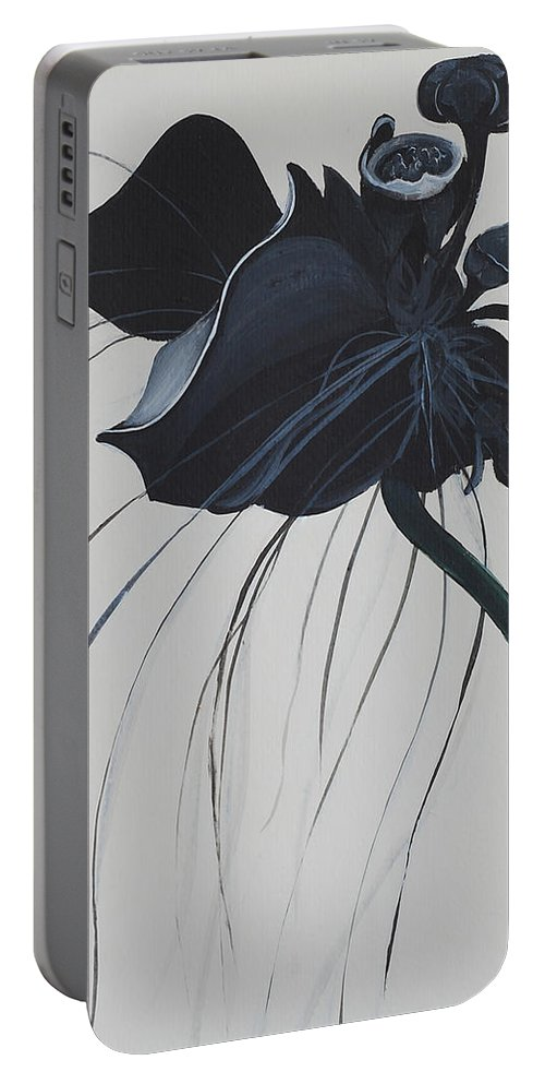 Black Orchid Portable Battery Charger featuring the painting Black Orchid by Catt Kyriacou