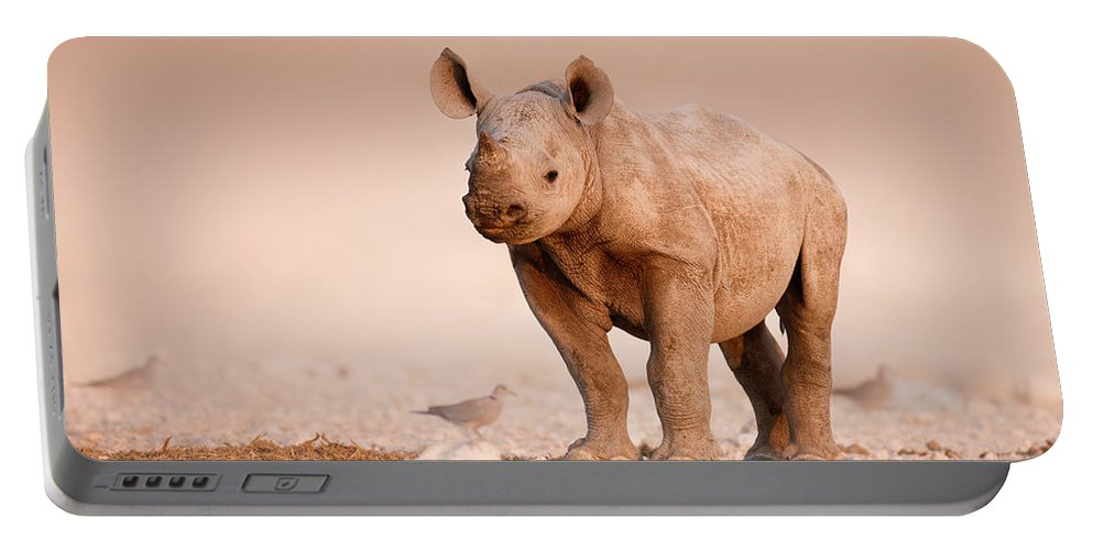 Wild Portable Battery Charger featuring the photograph Black Rhinoceros baby by Johan Swanepoel