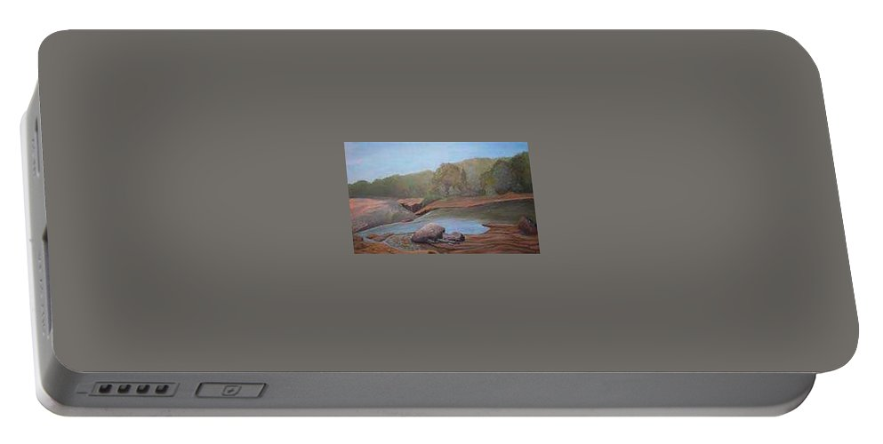 Rick Huotari Portable Battery Charger featuring the painting Black River Falls by Rick Huotari