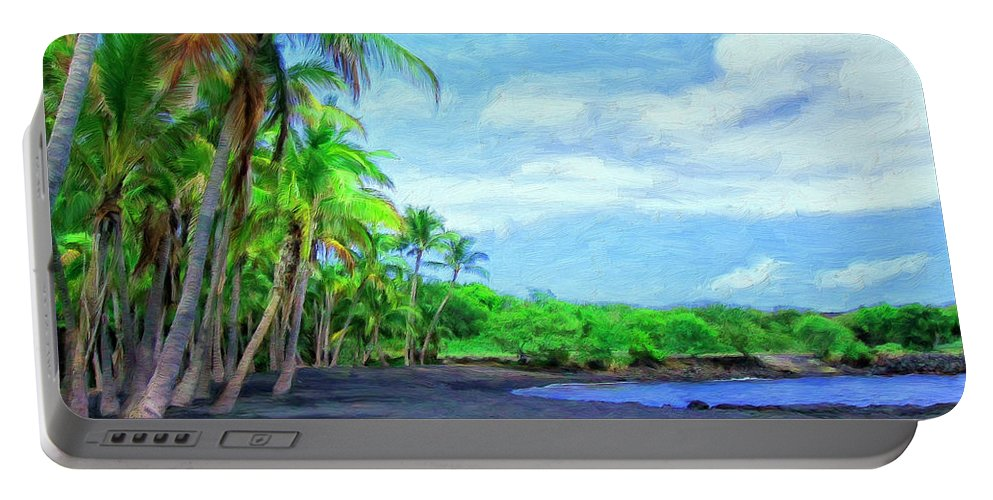 Black Sand Beach Portable Battery Charger featuring the painting Black Sand Beach At Punaluu by Dominic Piperata