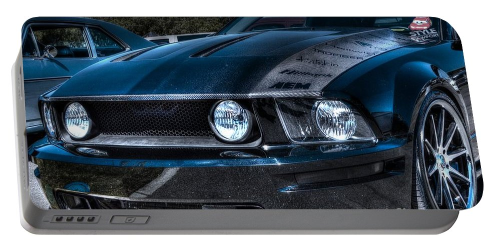 Truefiber Portable Battery Charger featuring the photograph Black Truefiber Mustang by Tommy Anderson
