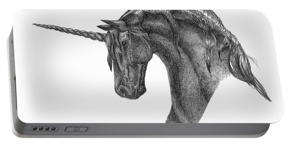 Unicorn Portable Battery Charger featuring the drawing Black Unicorn by J M Lister