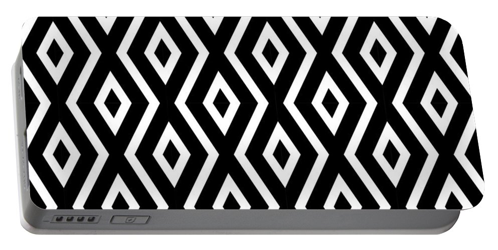 Black And White Portable Battery Charger featuring the mixed media Black and White Pattern by Christina Rollo