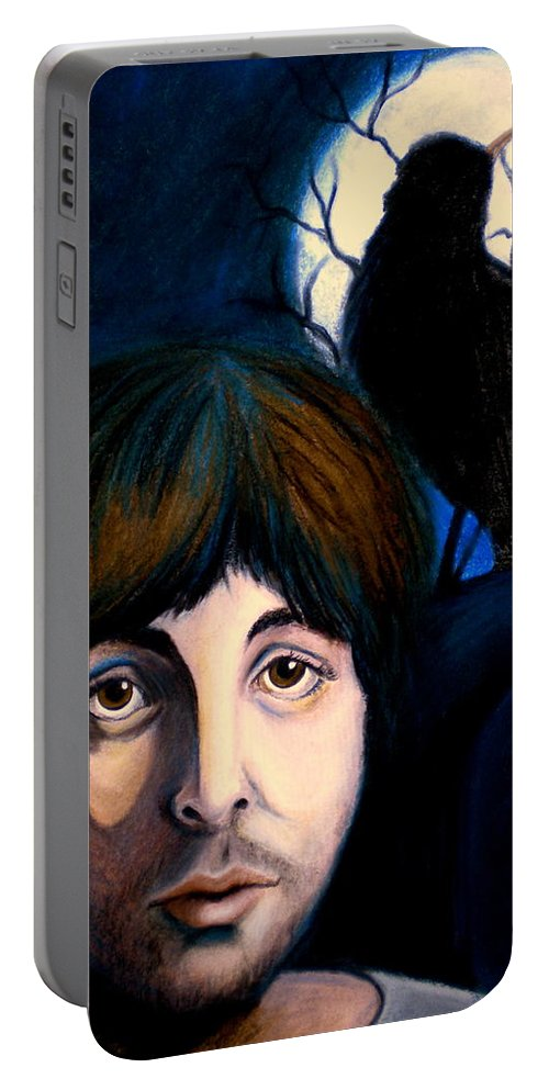 Paul Mccartney Portable Battery Charger featuring the painting Blackbird by Debi Starr