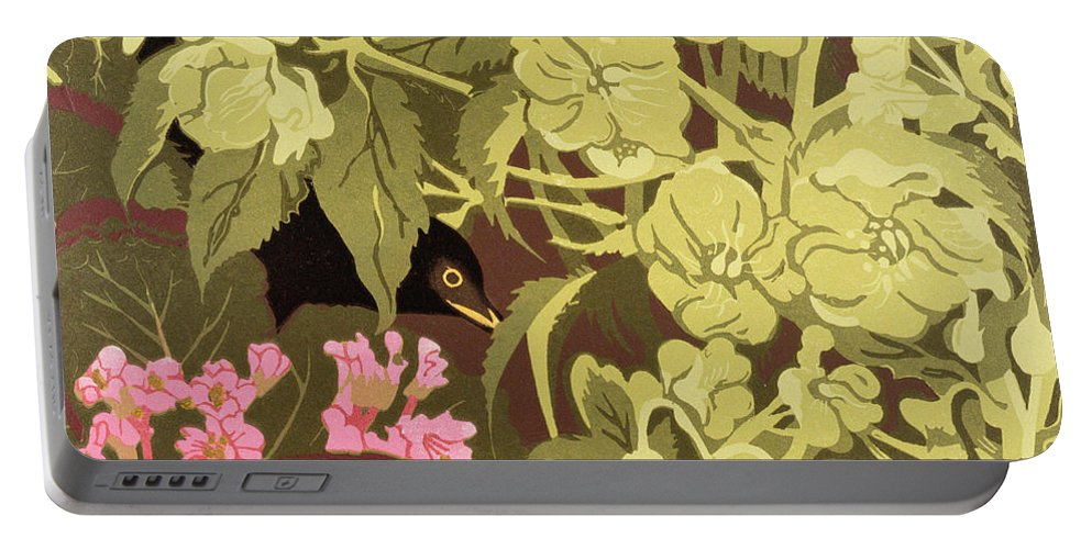 Pink Portable Battery Charger featuring the painting Blackbird In The Hellebores by Carol Walklin