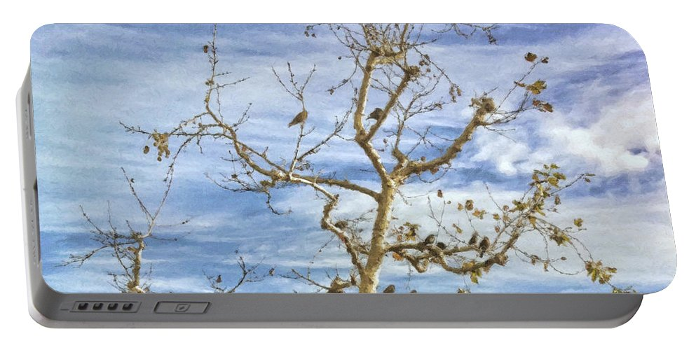 Blackbird Portable Battery Charger featuring the painting Blackbirds In A Tree by Angela Stanton