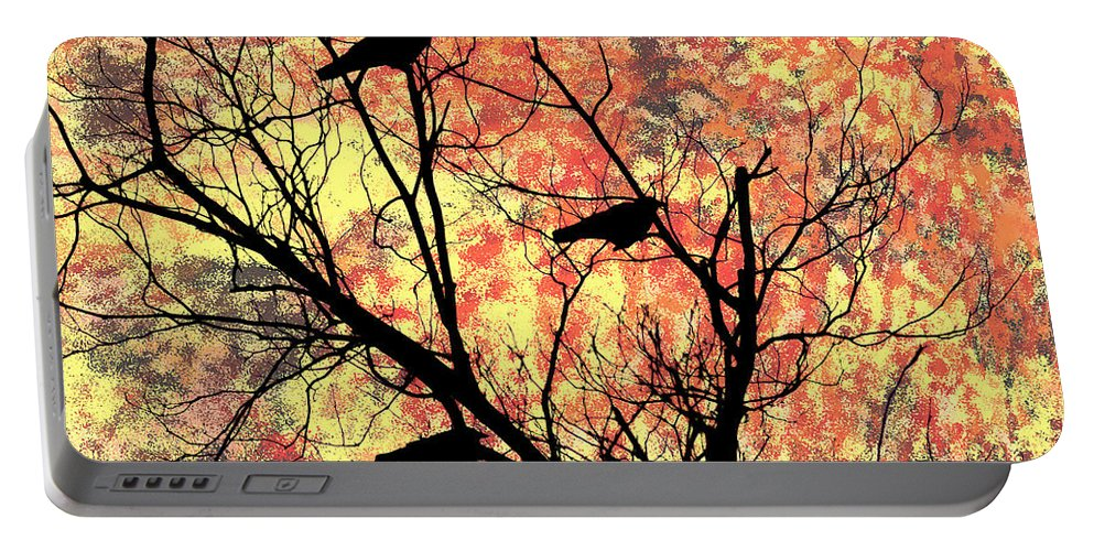 Blackbirds In A Tree Portable Battery Charger featuring the photograph Blackbirds In A Tree by Bill Cannon