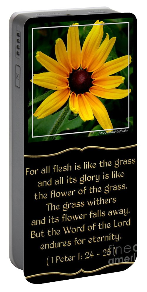 Black-eyed Susans Portable Battery Charger featuring the photograph Blackeyed Susan With Bible Quote From 1 Peter by Rose Santuci-Sofranko