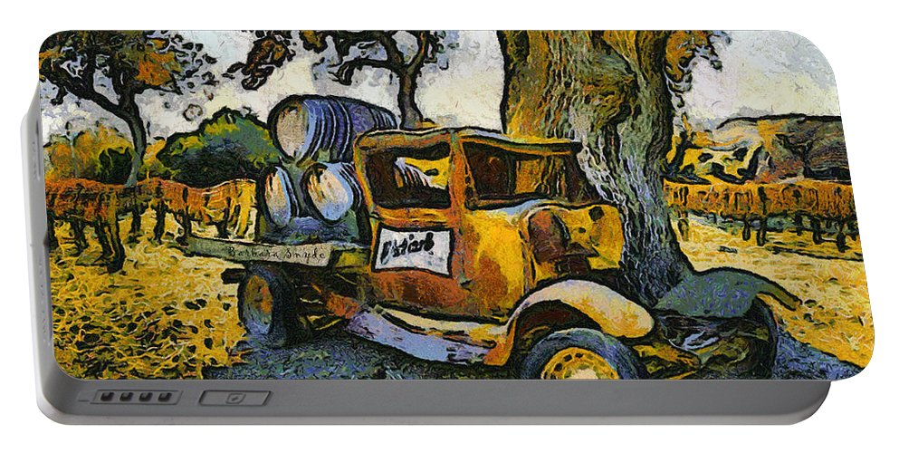 Barbara Snyder Portable Battery Charger featuring the digital art Blackjack Winery Truck Santa Ynez California by Barbara Snyder