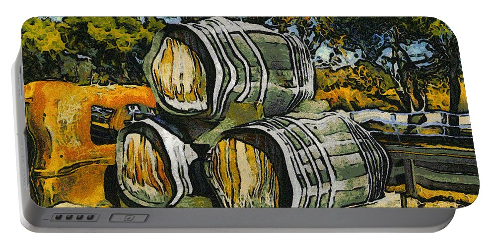 Blackjack Winery Wine Barrels Portable Battery Charger featuring the digital art Blackjack Winery Wine Barrels by Barbara Snyder
