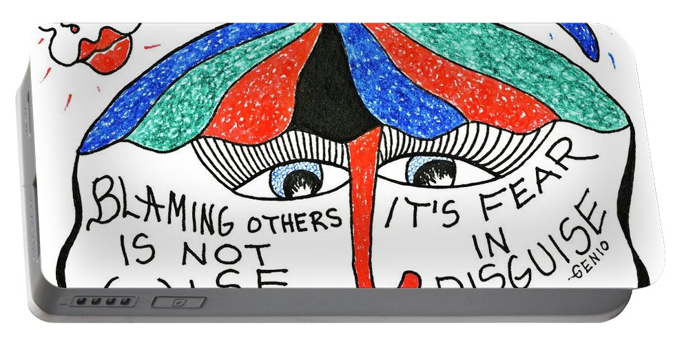 Genia Portable Battery Charger featuring the drawing Blaming Others Is Not Wise... by Genia GgXpress
