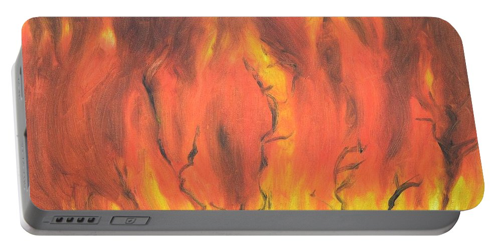 Fire Portable Battery Charger featuring the painting Blazing Fire by Usha Shantharam