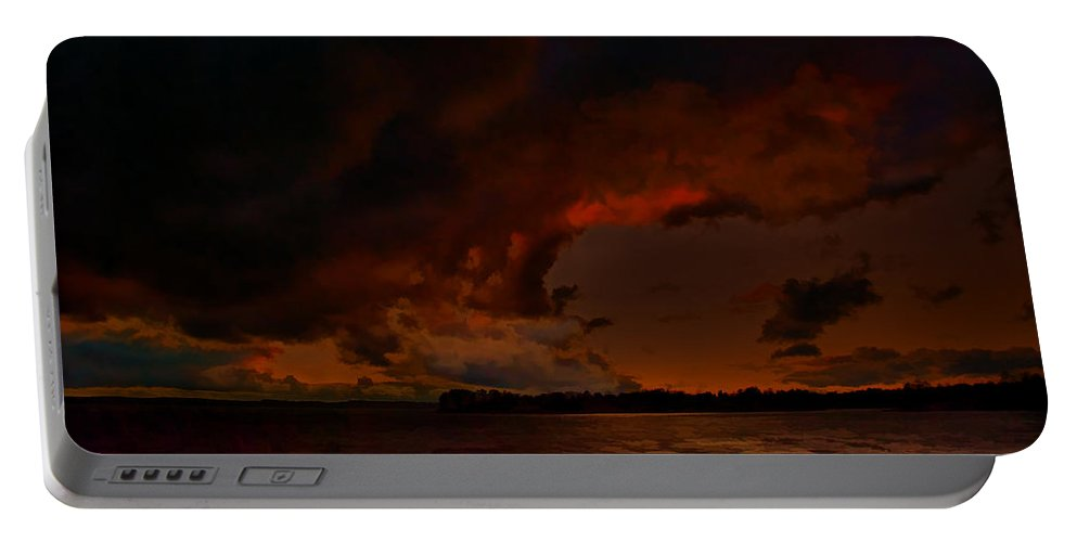 Blazing Glory Portable Battery Charger featuring the painting Blazing Glory by Steven Richardson